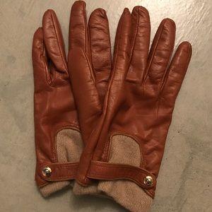 Henri Bendel Leather & Cashmere Gloves